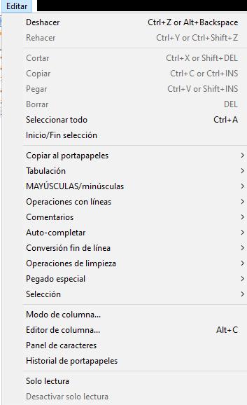menu editar en notepad plus plus