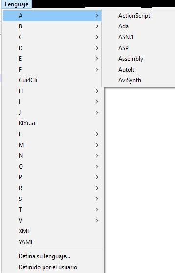 menu lenguaje en notepad plus plus