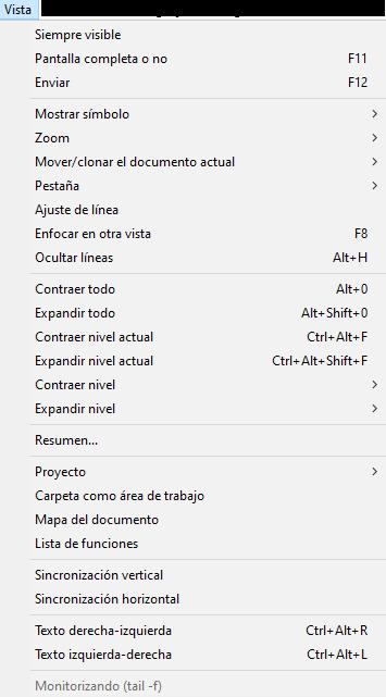 menu vista en notepad plus plus