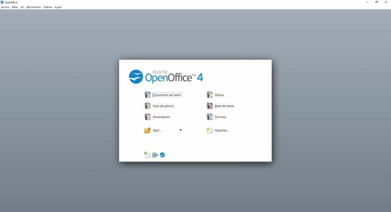 openoffice pantalla de inicio