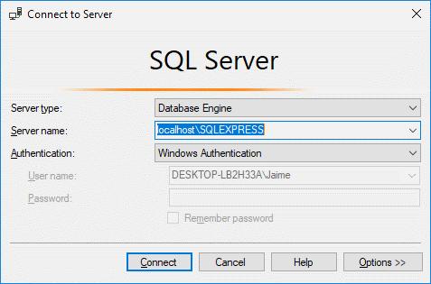 Pantalla de conexión a SQL Server