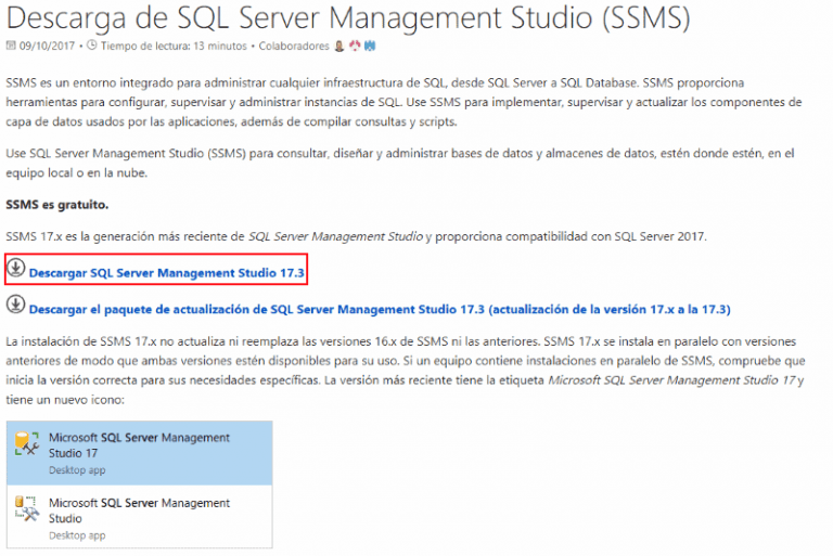 Web de descarga de SQL Server Management Studio (SSMS)