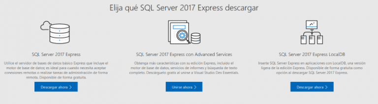 versiones de sql server express