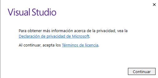 Primera pantalla de instalación de Visual Studio Community