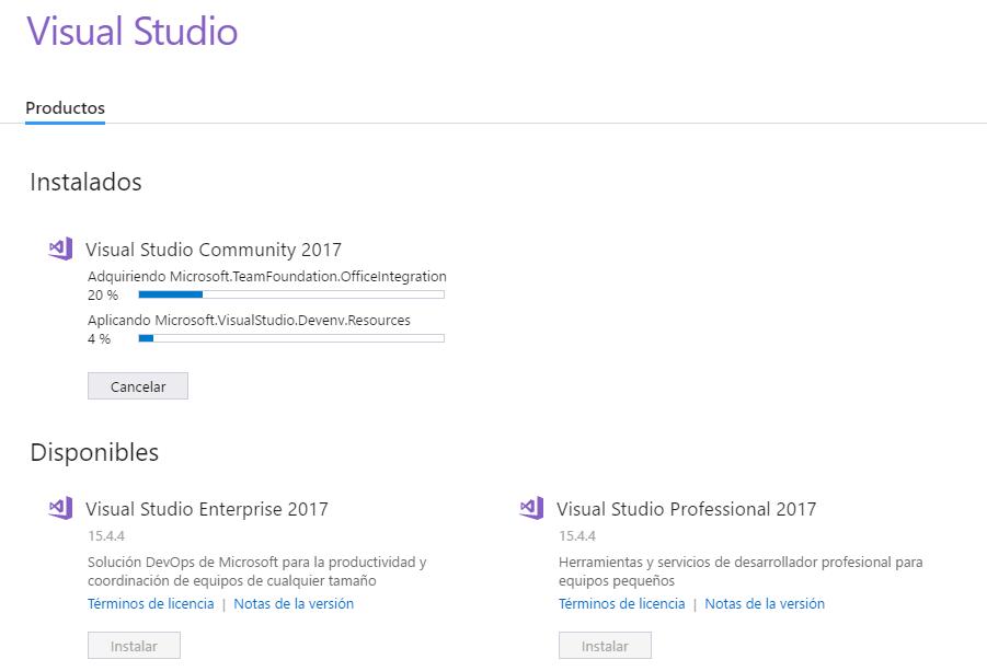 Proceso de instalación de Visual Studio Community