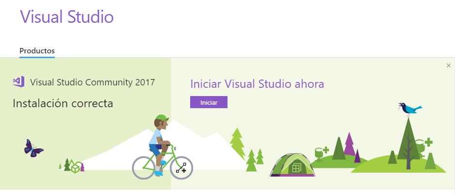 Instalación de Visual Studio finalizada correctamente