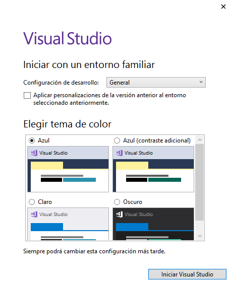Vista de diseño en Visual Studio Community