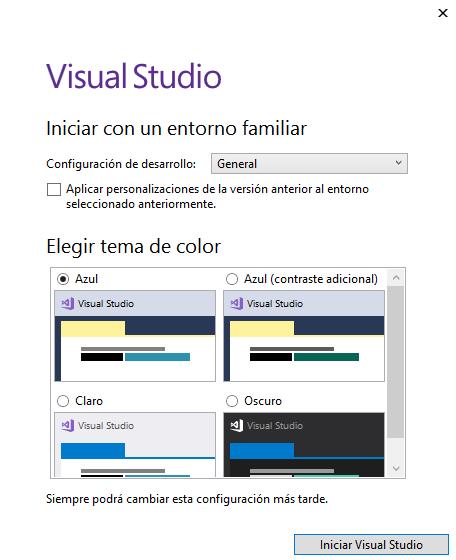 Vista de diseño en Visual Studio Community