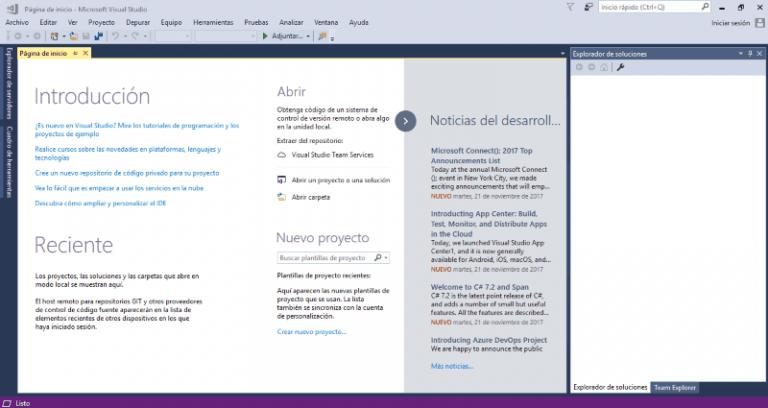 Entorno de desarrollo Visual Studio Community