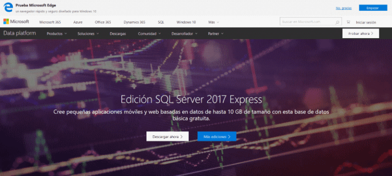web de descarga de microsoft sql server express